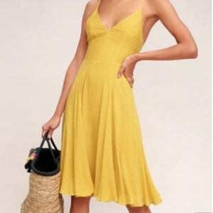 Lulus Troulos Mustard Yellow Lace-Up Midi Dress